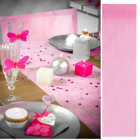 Chemin de table pas cher intiss rose 30cm deco table badaboum - Chemin de table jetable pas cher ...