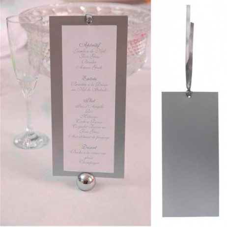 Menu mariage rectangle argent
