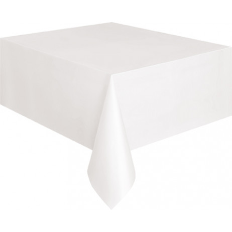 nappe en plastique rectangulaire blanche 135x270cm nappe pas cher badaboum. Black Bedroom Furniture Sets. Home Design Ideas