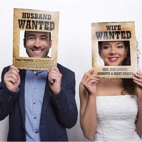 Pancarte Photobooth Husband and Wife Wanted