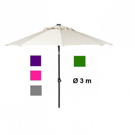 Parasol Aluminium rond inclinable 3m 5 Couleurs