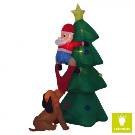 Pere Noel Gonflable Lumineux avec Sapin