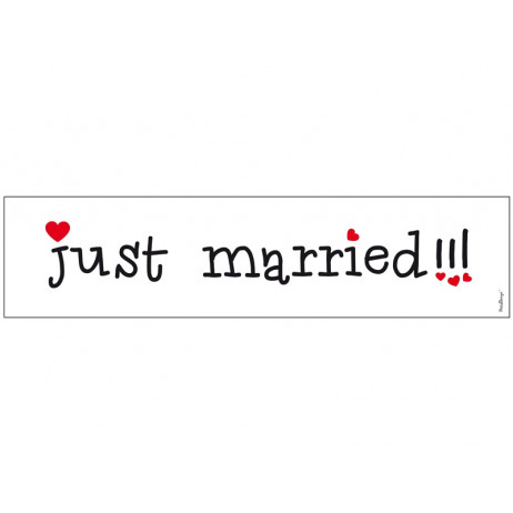 Plaque d'Immatriculation Mariage Just Married Avec Coeur Rouge