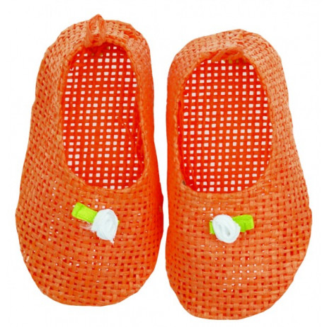 Paire de mini chaussons tressés orange