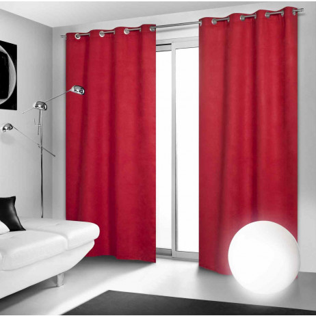 rideau occultant rouge a oeillets 140x260cm badaboum. Black Bedroom Furniture Sets. Home Design Ideas