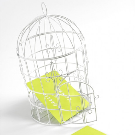 Urne cage oiseau Blanche