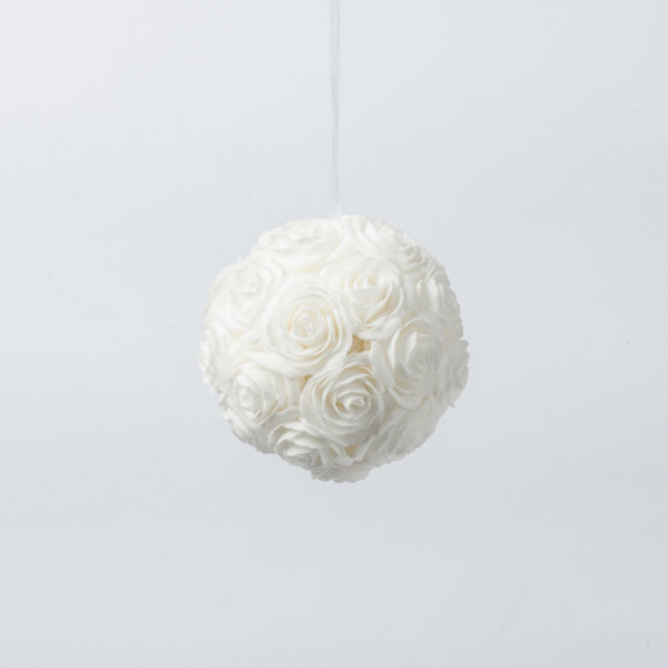 Boule de rose en mousse blanche decoration mariage for Piscine a boule en mousse