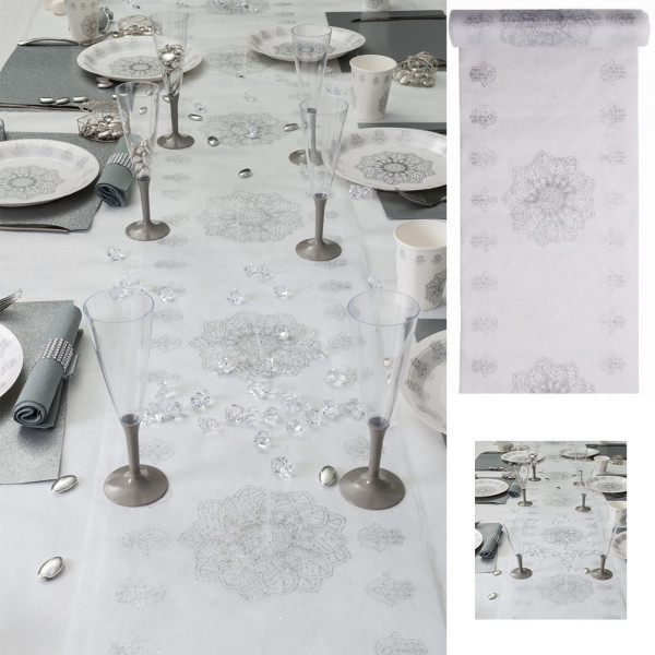chemin de table oriental argent chemin de table mariage. Black Bedroom Furniture Sets. Home Design Ideas
