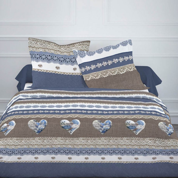 housse de couette pas cher 220x240 sweety blue linge de maison badaboum. Black Bedroom Furniture Sets. Home Design Ideas