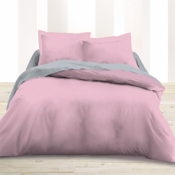 housse de couette percale 220x240 cm rose housse couette. Black Bedroom Furniture Sets. Home Design Ideas