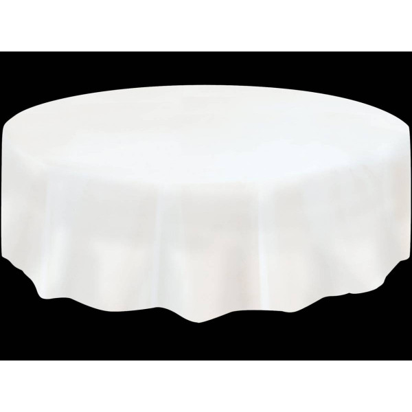 nappe en plastique ronde blanche 210cm nappe mariage. Black Bedroom Furniture Sets. Home Design Ideas