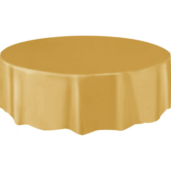 Nappe ronde en plastique or 210cm nappe pas cher badaboum for Nappe papier table ronde