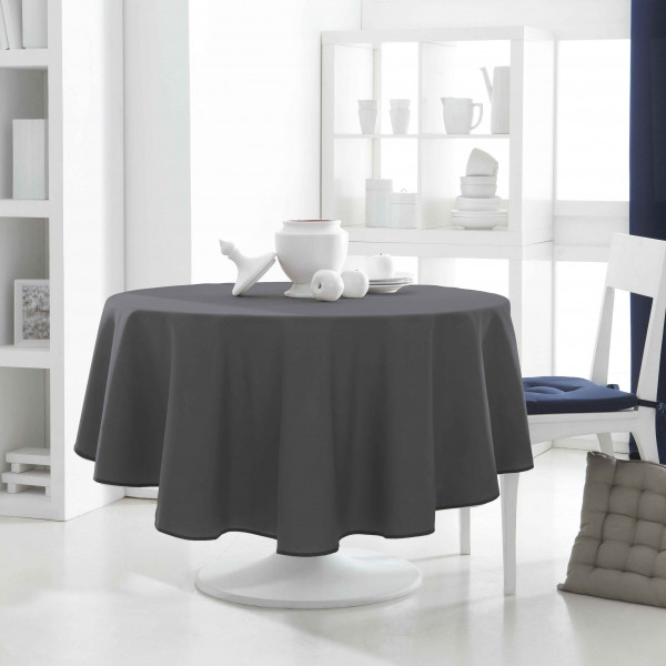nappe ronde pas cher 180 cm gris fonc nappe tissu anti tache. Black Bedroom Furniture Sets. Home Design Ideas