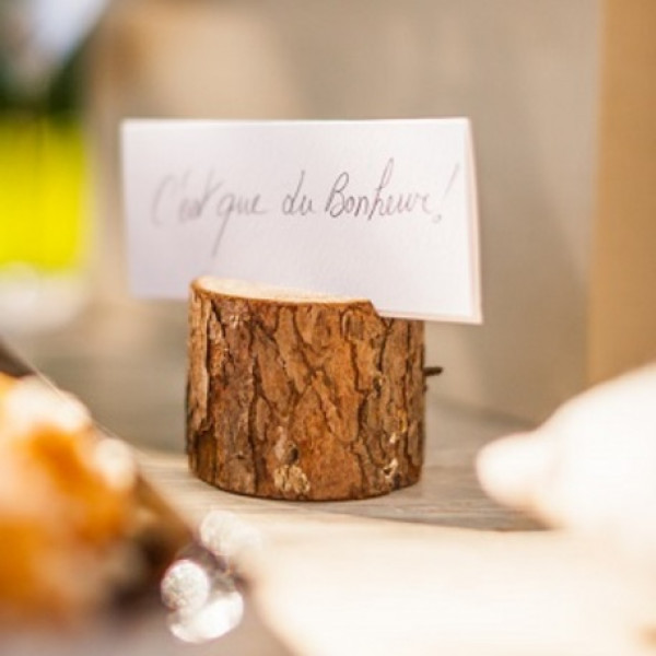 porte menu mariage buche de bois decoration de table