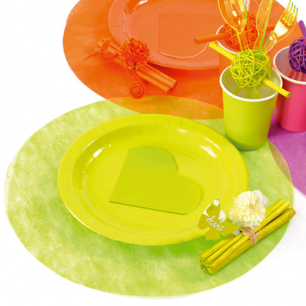 Set de table papier intiss vert anis rond 34cm x50 sets for Set de table rouge rond