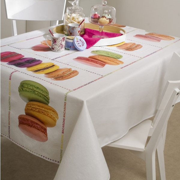 toile cir e au m tre macaron nappe de table d sign badaboum. Black Bedroom Furniture Sets. Home Design Ideas