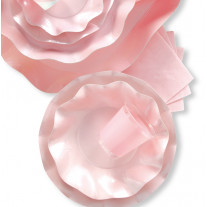 Assiette jetable en carton design Vague Rose 27cm