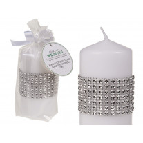 Bougie mariage pilier Blanche avec strass