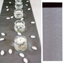 Chemin de table organza Noir 36cm x 9m