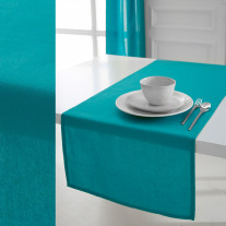 Chemin de table Today Turquoise en coton 50x150cm
