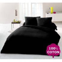 drap housse 90x190 cm noir 100 coton drap housse pas cher badaboum. Black Bedroom Furniture Sets. Home Design Ideas
