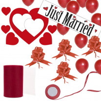 Kit Decoration Mariage Géant Just Married Rouge