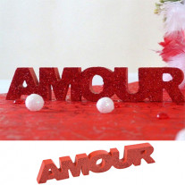 Centre de table Amour pailleté Rouge