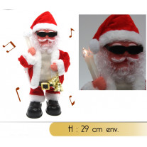Pere noel automate Musical avec Cloches et Bougie LED