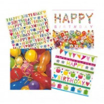 Lot de 12 serviettes Anniversaire