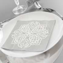 Serviette de table en papier Oriental Argent