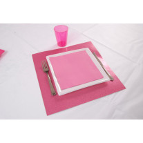 Set de table carré Fuchsia pailleté x2
