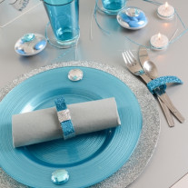 Set de table rond pailleté Argent