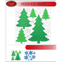 Sticker vitrostatique de Noel pailleté