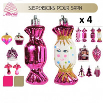 suspension sapin noel candy bar fuchsia