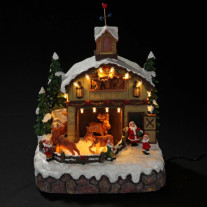 Village de Noel Miniature du Père Noel 17 LED Blanc Chaud