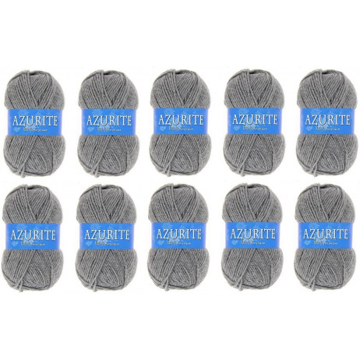 10 Pelotes de laine Azurite Acrylique Gris