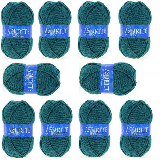 10 Pelotes de laine Azurite Vert Emeraude