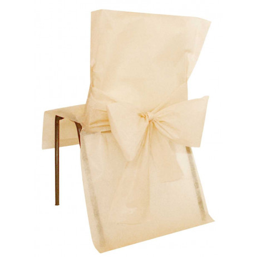 Housse de chaise Ecru avec noeud