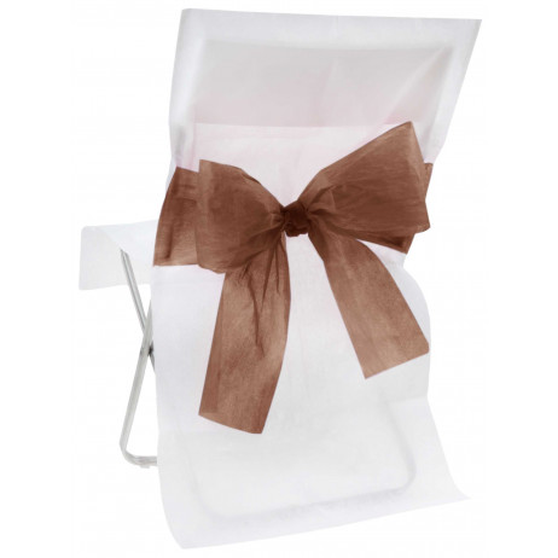 Housse de chaise blanche avec noeud Chocolat