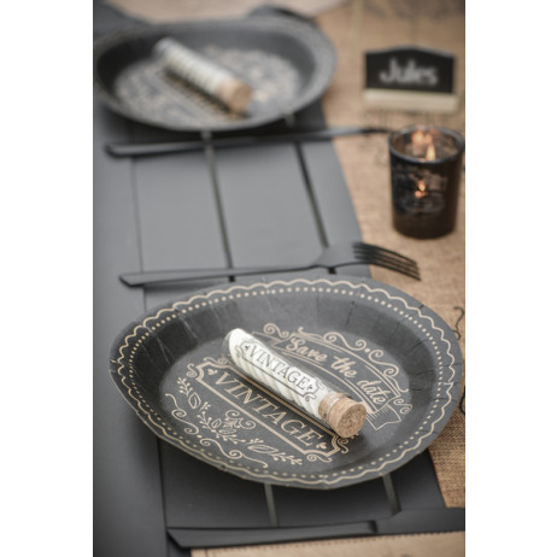assiette en carton vintage noir vaisselle jetable badaboum. Black Bedroom Furniture Sets. Home Design Ideas