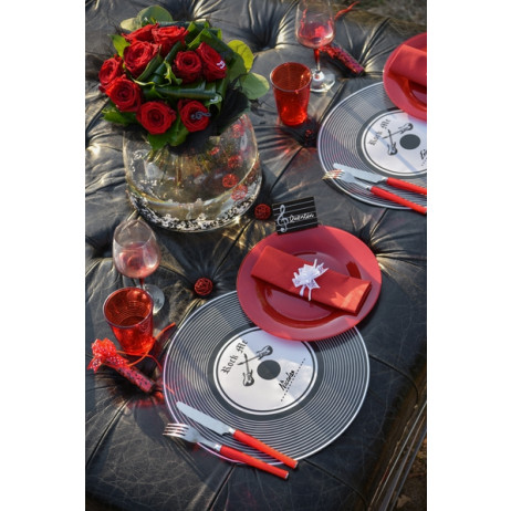 set de table vintage disque vinyl 39cm deco mariage pas cher badaboum. Black Bedroom Furniture Sets. Home Design Ideas