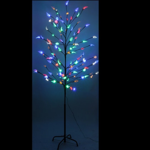 Arbre de noel noir avec feuilles multicolores 120 LED