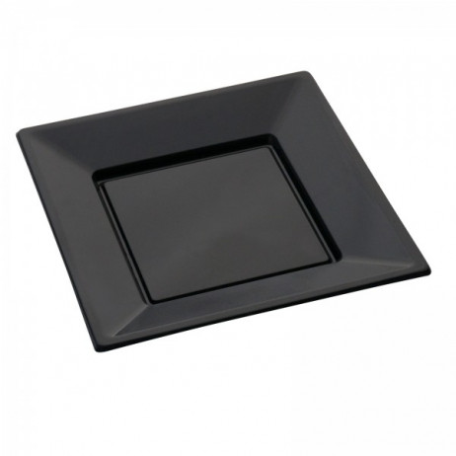 assiette carrée plastique Noir 23cm