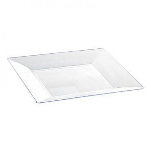 Assiette plastique carrée Transparente 18 cm x 12 pièces