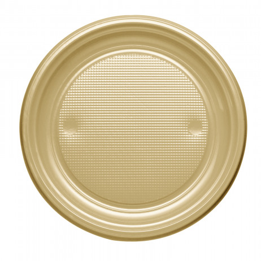 Assiette plastique ronde Or 17cm x 25 pièces
