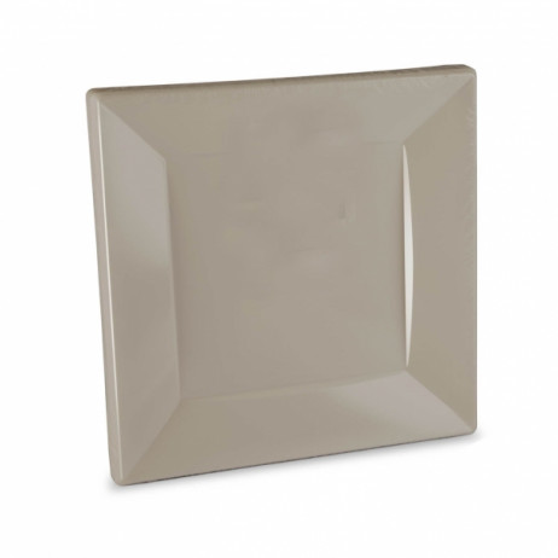Assiettte carrée plastique 23cm Taupe