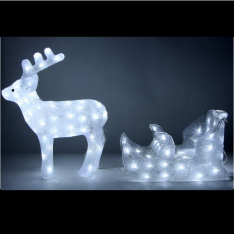 Cerf traineau lumineux acrylique 128 led illumination for Illumination exterieur noel