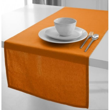 Chemin de table en coton tissu Orange 50x150cm