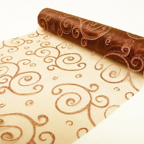 Chemin de table en organza arabesque Chocolat