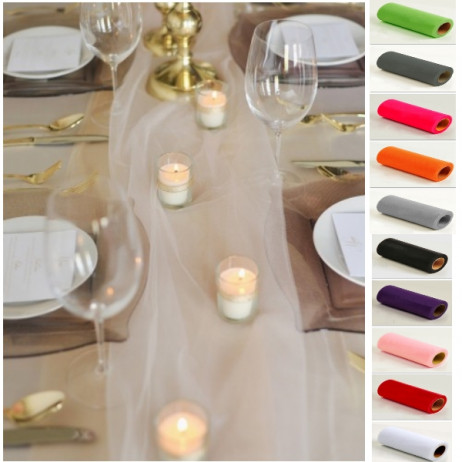 chemin de table mariage en tulle 30cm decoration mariage badaboum. Black Bedroom Furniture Sets. Home Design Ideas